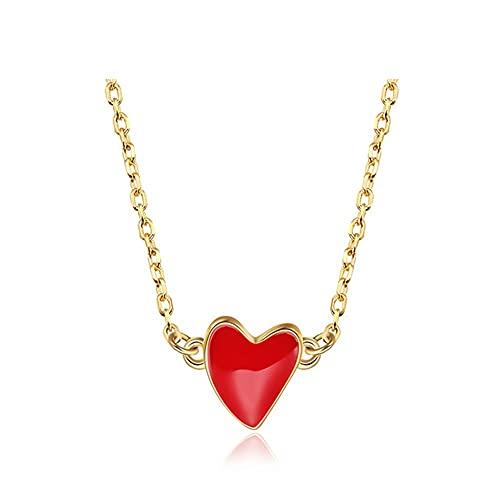 ZRJ Collar 925 STERLINAL SILVING Ladies Oro PEQUEÑA Cadena PEQUEÑA Cadena COLLA DE Pendiente Collar Collar de Estilo Bohemio Joyería Decoraciones (Color : A)