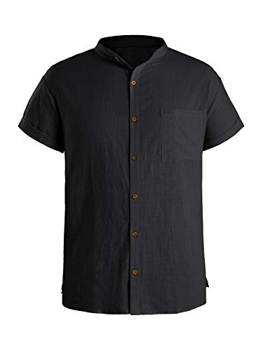 Angeun Mens Linen Shirt Casual Button Down Short Sleeve Workout Loose Fit Banded Collar Shirts with a Chest Pocket Black