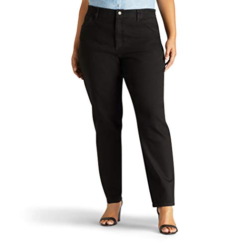Lee Women's Plus-Size Relaxed Fit Side Elastic Tapered Leg Jean, Black Stretch, 20W Petite