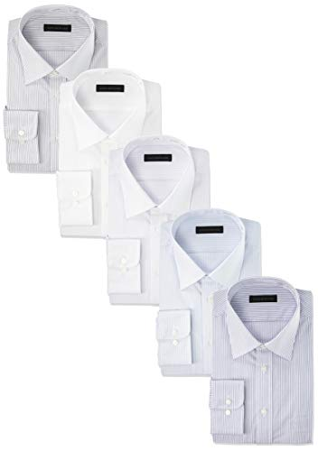[コナカ] ドレスシャツ YS-BAN-5SET-5900 メンズ 白織柄 ブルー・グレー/ストライプ/長袖 1900KO-20-A/1900KO-19-1/-3/-13/-14-4382 首回43㎝袖丈82㎝-LL(日本サイズ 2L相当)