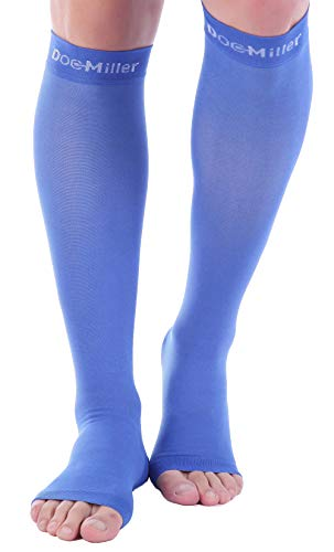 Doc Miller Open Toe Compression Socks 1 Pair 30-40mmHg Stockings (Blue S)