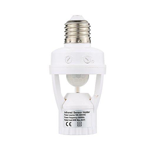 Tidyard Detección de 360 grados PIR Sensor de movimiento infrarrojo E27 LED Luz Base de la lámpara Soporte Bulbo Socket Día y Noche 2 Modos