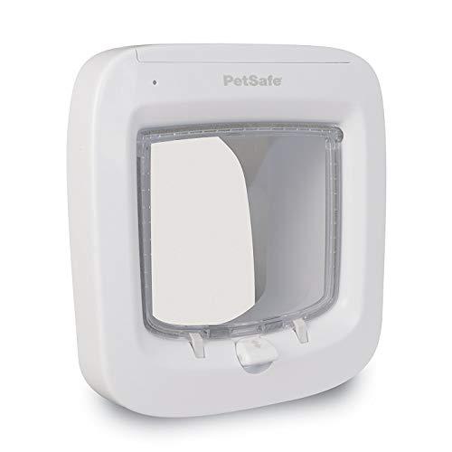 PetSafe Weiße Mikrochip Katzenklappe 22cm x 23,9cm groß, 4 Verschlussmöglichkeiten, wetterfest und robust, Katzentür Haustierklappe Freilauftür Haustiertür