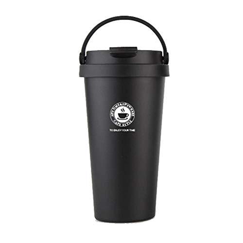 GZSC Reutilizable Taza de café Taza de Termo de Acero Inoxidable Taza de té de café Taza de Termo Taza de Frasco de vacío Taza de café de Viaje con Tapa Taza de Taza de Termo (Color : Black)