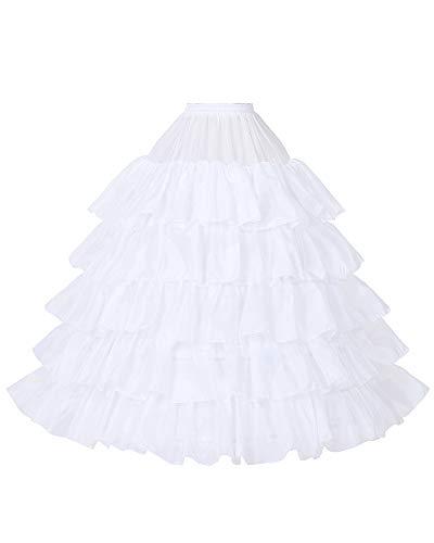 Petticoat Unterröcke Reifrock Rockabilly Rüschen A Linie Lang Vintage für Hochzeit Brautkleid S - Weiß - Gr. L-XL
