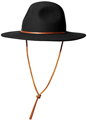Brixton Men's Tiller III Wide Brim Felt Fedora HAT, Black, XL