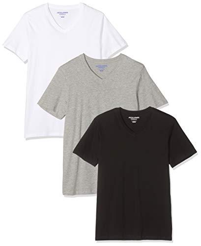 JACK & JONES Herren Jorbasic Ss Tee V-Neck 3-Pack Ka T-Shirt, Blau (White Black/Lgm), X-Large (3er Pack)