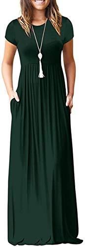 Women's Short Sleeve Long Maxi Summer Casual Dresses Dark Green XX-Large