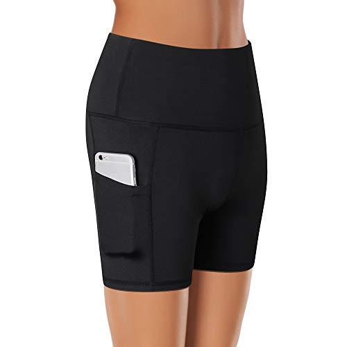 Lixada Short de Sport Femmes Taille Haute pour entraînement de contrôle du Ventre, Short de Yoga Sportif avec Poche