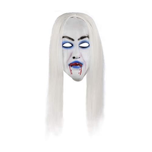 Sulifor Halloween weiße Haare Hexenmaske Halloween Cosplay Scary Bride mit weißer Haarmaske für Erwachsene Dekor Requisiten