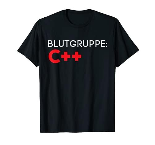 Blutgruppe C++ Weihnachts Geschenk Lustiges Itler Nerd Shirt T-Shirt