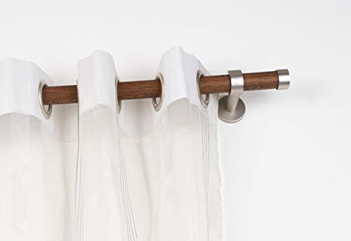 InCasa Gardinenstange Ø 28 mm ohne Ringe, Länge: 140 cm, aus Holz mit Zubehör in gebürsteter Edelstahl – komplett