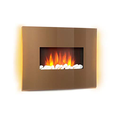 Klarstein Curved Copper L&F - Elektrokamin mit zuschaltbarer Heizfunktion, elektrischer Kamin, E-Kamin, 1000 oder 2000 W, Flammeneffekt, Curved Glass Panel, Timer, Fernbedienung, kupferfarben