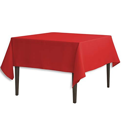 LinenTablecloth 177,8 cm Cuadrados poliéster Mantel Rojo