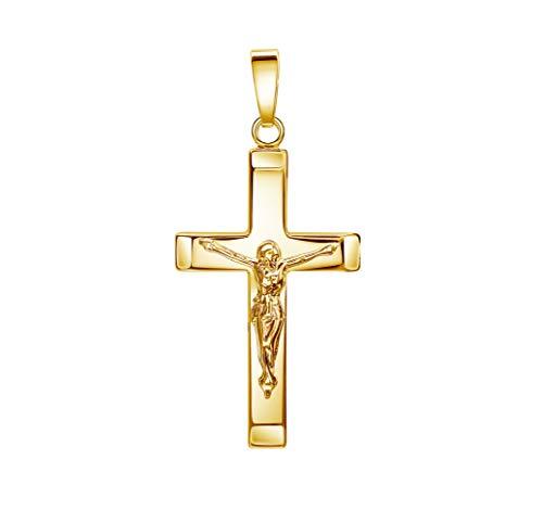 JEVELION Kruzifix Kreuz-Anhänger Goldkreuz Jesus Christus für Damen, Herren und Kinder als Kettenanhänger 333 Gold 8 Karat