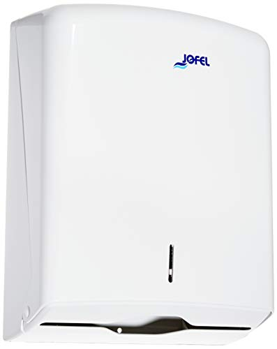 Jofel AH33000 - Dispensador de toallas formato zig-zag, admite 600 toallas, color blanco