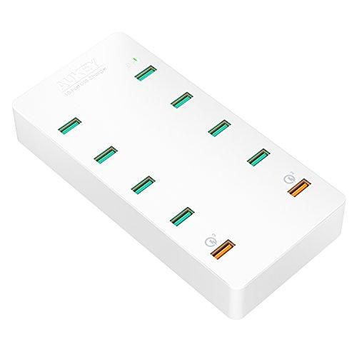 AUKEY PA-T8 Quick Charge 3.0 USB Ladegerät 70W 10 USB Ports, 70W weiß