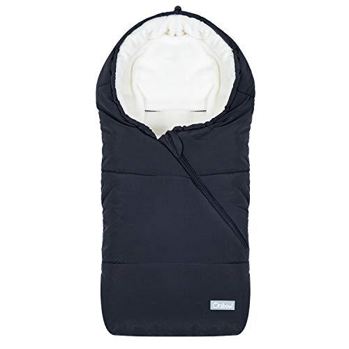 Orzbow Saco Carrito Bebe invierno saco silla paseo Universal saco capazo bebe - Térmico, Impermeable a Prueba de Viento Hasta -10° (Negro,0-12 meses)