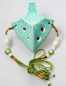 Excalibur Soprano C 6 Holes Jade Crackle Glaze Ceramic Ocarina - Dexterous, Easy to Learn, Good for Beginner & Great Gift! Linn's Arts!