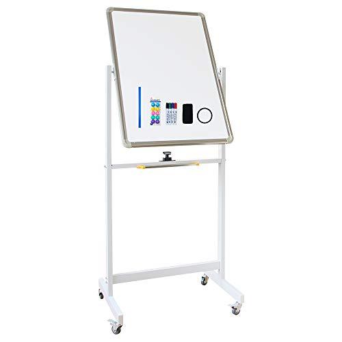 XIWODE Mobiles Whiteboard, beidseitige Magnettafel mit Ständer, Pinnwand Tafel mit Alurahmen, 90x60cm