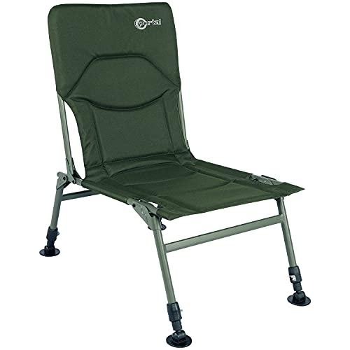 PORTAL Silla de pesca plegable resistente al aire libre reclinable silla de camping patas ajustables ideal para carpas equipo de pesca verde ejército