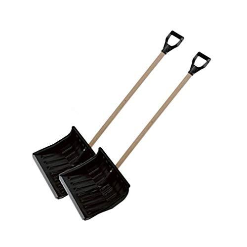 2x Schneeschieber Eckig mit Holzstiel Schneeschaufel Schwarz 45x35cm/ Schiebekante mit Aluprofil