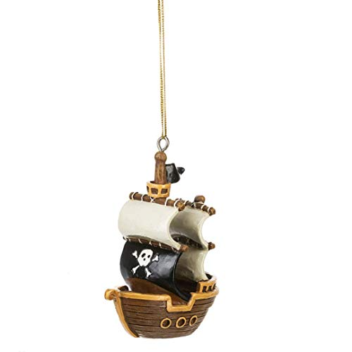 Brown Black Pirate Ship 3.5 inch Resin Decorative Christmas Ornament