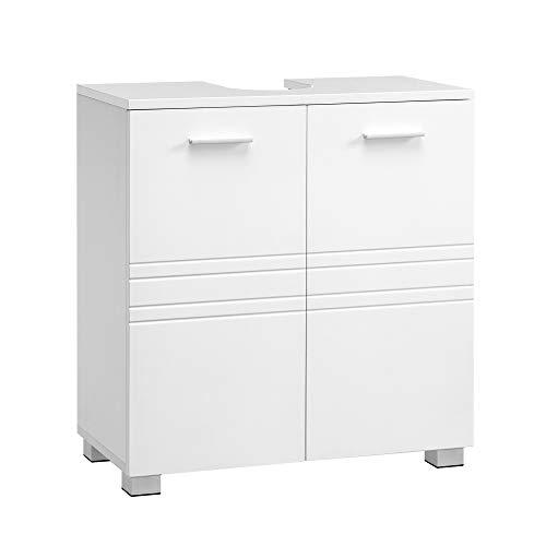 VASAGLE Waschbeckenunterschrank, Badezimmerschrank mit Doppeltür, Badschrank mit Verstellbarer Regalebene, Unterschrank mit Standfüßen, für Badezimmer, 60 x 30 x 63 cm, weiß BBK110W01