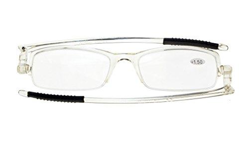 Eyekepper 360° Foldable Temples Reading Glasses with Transparent Case Men Women (Transparent Frame, 1.25)