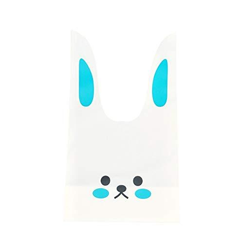ウサギのかわいいギフトバッグ 選べるカラーとサイズ 100枚 ビニール袋 レジ袋 イベント袋 お菓子袋 MINAKIKO (青うさぎ2, s)