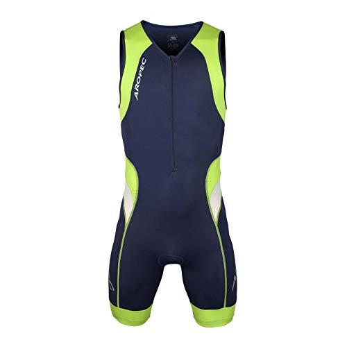 Aropec Lime–Mono Deportivo de Lycra–triatlón Hombres Traje, Traje, Hombre, Color Navy/Lime, tamaño Large