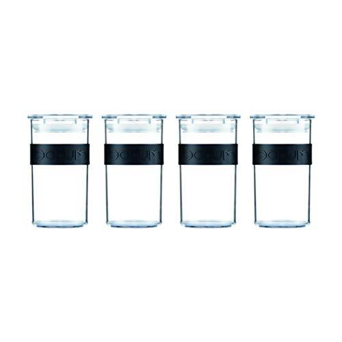 Bodum PRESSO Vorratsgläser, Kunststoff, Schwarz, 0,25 l