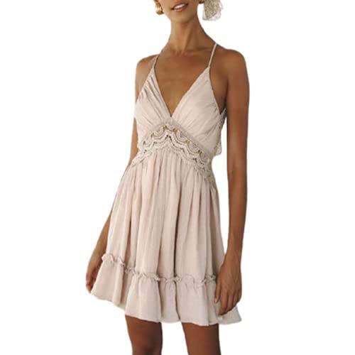 EMPERSTAR Women's Swing Dresses Cocktail Party Dresses Elegant V Neck Wedding Bridesmaid Dress Pink-1 M