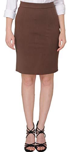 Marycrafts Women's Work Office Business Pencil Skirt L Brown