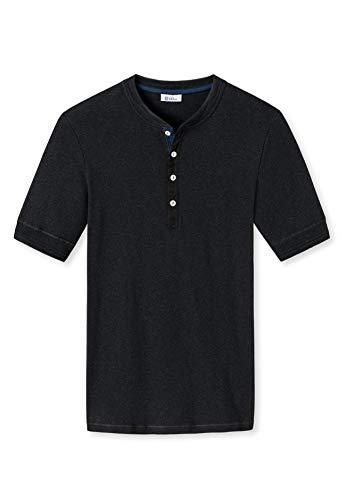Schiesser Revival Herren Henley Shirt - 1/2 Arm, Uni, Karl Heinz - anthrazit L (Large)