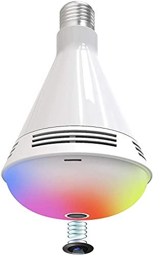 Cámara De Bombilla Wi-fi Inteligente Fooktu 3 En 1 Cámara Oculta Altavoz Bluetooth Cámara De Seguridad Color Inalámbrico Cambio De Color Led Led Bombillas Ip Cam Con Detección De Movimiento / Audio De
