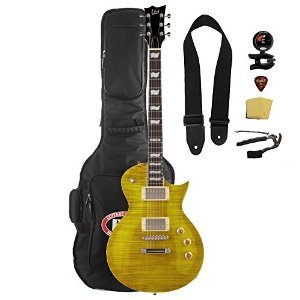 ESP LTD EC-256FM Lemon Drop Electric Guitar with Gig Bag and Accessories