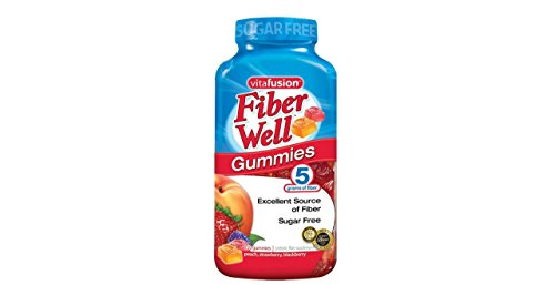 Vitafusion Fiber Well Gummies 5 Grams of Fiber Naturally Sourced Colors & Flavors Provides Prebiotic Benefits of Peach, Strawberry, Blackberry Flavors of Prebiotic Fiber Supplement Sugar Free Gummies- 2 Pack of 220 Gummies Bottles