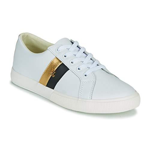 Ralph Lauren - Scarpe da tennis da donna, modello Janson Color bianco e oro, Bianco (bianco), 39/42 EU