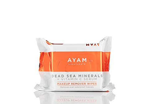 AYAM Beautycare Dead Sea Minerals + Vitamin C Serum Makeup Remover Wipes, Cleansing Towelettes, Removes makeup, Oil, Dirt, 25 Count