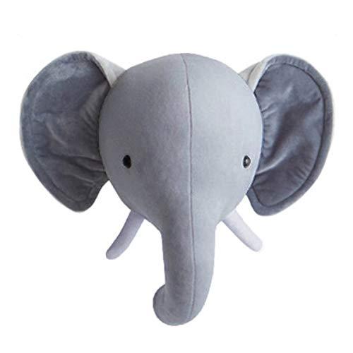 Yinuoday Wall Decor, Animal Head Wall Hanging for Baby Nursery Decor Elephant/Deer Head/Rabbit Stuffed Toys Gifts for Kids Bedroom or Playroom