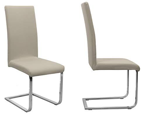 BEAUTEX 2er Set Jersey Stuhlhusse (Farbe wählbar), elastische Uni Stretch-Husse aus Baumwolle Bi-Elastisch (Beige)