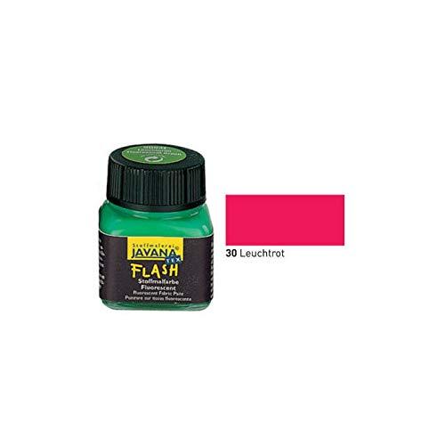 Javana Textil FLASH Neon fluoreszierende Stoffmalfarbe 20ml, Leuchtrot