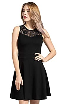 Sylvestidoso Women s A-Line Sleeveless Pleated Little Black Cocktail Party Dress with Floral Lace  XS Black