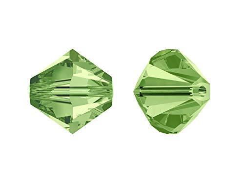 Xilion Swarovski Beads, Bicone 5328, 4mm, 18 Piezas, Cuentas de Vidrio facetadas en la Forma de Cono Doble (Linterna), Peridot (Transparent Light Green Iridescent)
