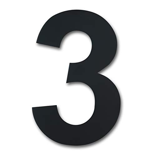 Número de casa moderno cepillado, 205 mm de altura, hecho de acero inoxidable 304 sólido, chapado en negro (Número 3 Tres)