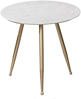 Side Table End Tables Tea Table Marble Wrought Iron Round Side Table Coffee Table, Simple Bedroom Living Room Balcony Reading Table Dining Sofa Table