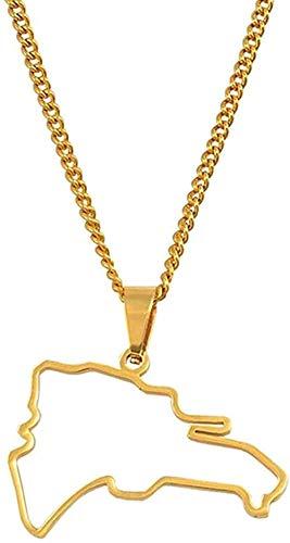 NC110 Collar con Colgante de Mapa dominicano, Collares para Mujeres, niñas, Mapa de dominicanos, joyería, Collar de Acero Inoxidable de Color Dorado YUAHJIGE