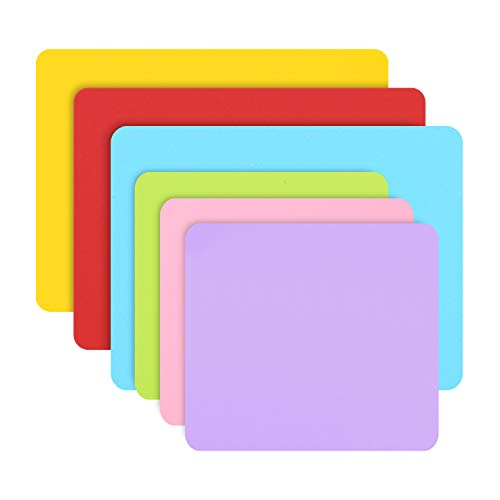 6 PCS Silicone Mat for Crafts, Gartful Silicone Sheets for Resin Jewelry Casting Mat, Multipurpose Mat, Table Saver Pad, Red Yellow Blue & Green Purple Pink (15.7 x 11.8 & 11.4 x 10.2 inches)