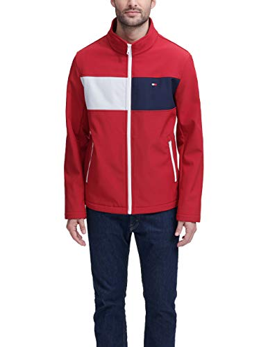 Tommy Hilfiger Men's Retro Sport Soft Shell Jacket, red two Tone Flag, Large